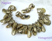 Vintage Bracelet Napier Charm Sea Shells Gold tone clip Earrings