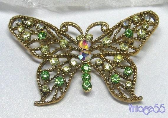 Vintage Brooch Butterfly Rhinestones Pink Green