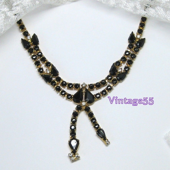 Vintage Necklace Black Rhinestone Gold tone