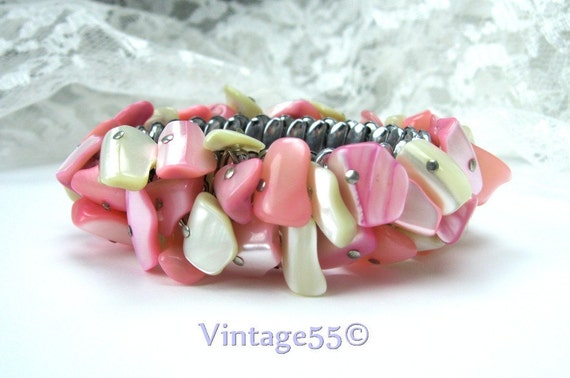 Vintage Bracelet MOP Pink White Expansion