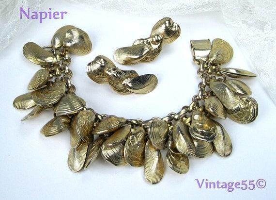 Vintage Bracelet Napier Charm Sea Shells Gold tone clip Earrings