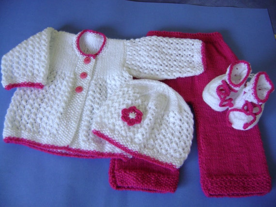 White and Fuchsia Baby Set- 0 to 3 months-Four Pieces-Non allergenic acrylic-READY TO SHIP-