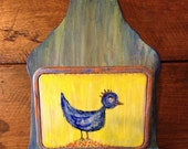 Hen the Helper, UpCycled Folk Art Mail and Key Holder