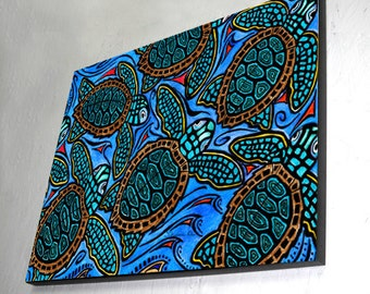Baby Turtles Wall Art Wood Panel - ready to hang