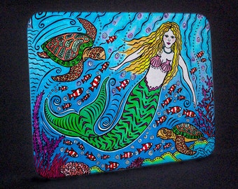 Mermaid and Turtles Cutting Board or Hot Plate