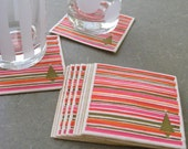 Vintage Mod Christmas Paper Coasters, Stripes and Tree, Set of 12