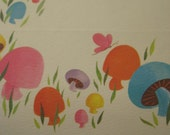 RESERVED Vintage Stationery Set, Mushrooms in Bright 1970s Colors, Bright Notes