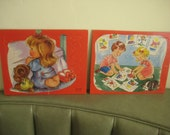 Vintage Puzzles, Jigsaw Puzzles, Cardboard Puzzles, Child Puzzles, Praying Child, Red Backgrounds, Set of Two