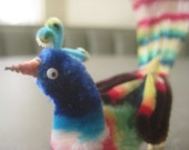 Vintage Pipe Cleaner Bird, Pipecleaner Peacock, Multicolor Millinery Craft Bird