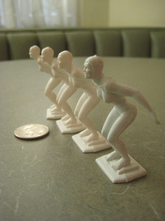 RESERVED Vintage Plastic Cake Toppers, Eight Assorted Sports Figures