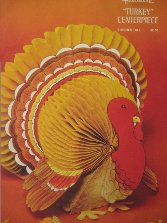 Vintage centerpiece thankgiving turkey paper