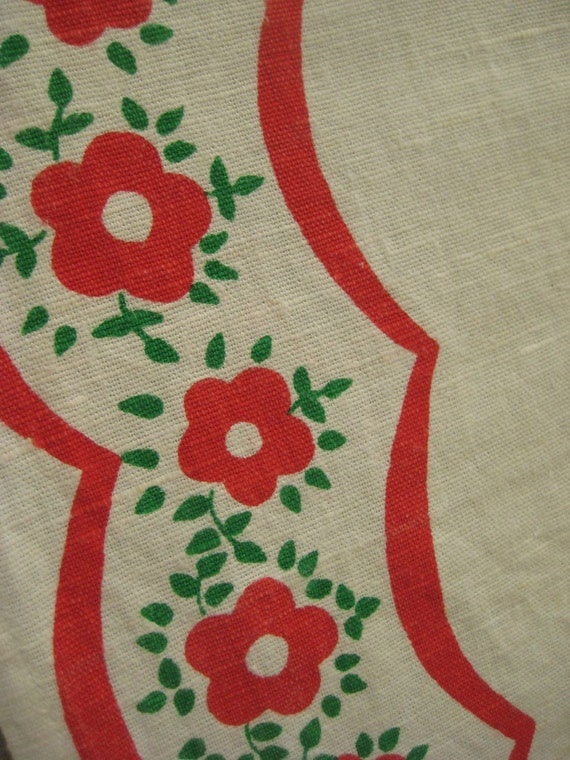 Vintage Linen Runner or Table Covering with Red Flowers