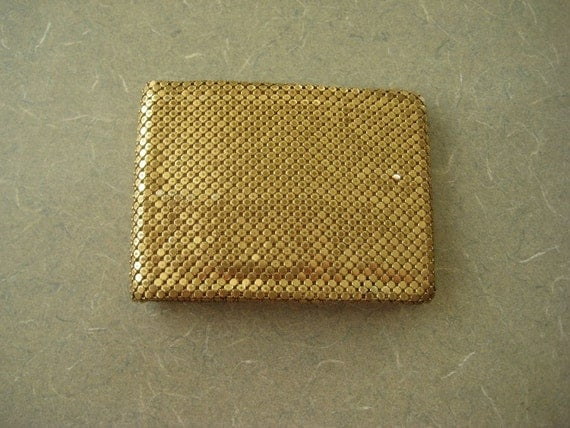 Vintage Gold Wallet, Metallic Mesh Gold Links, Gold Accessory