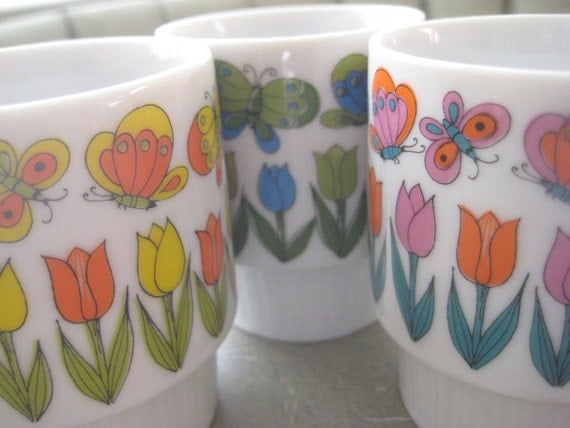 Vintage Stacking Mugs with Butterflies and Flowers, 1960s Ceramic Cups Made in Japan, Set of Three