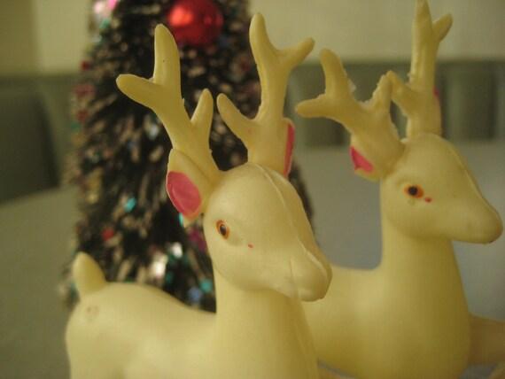 Vintage Reindeer, Plastic Deer, Prancing Deer, Christmas Decor, Holiday Decor, Set of Two, Made in Japan, Christmas Decoration, White Deer