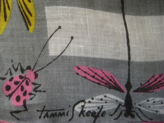 Vintage Tammis Keefe Handkerchief, Cotton Hankie with Bugs, Insects on Grey and White Stripes