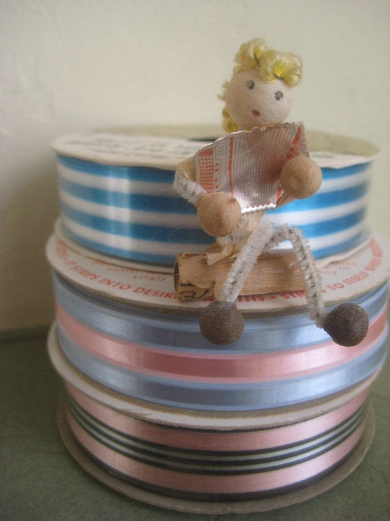 Vintage Ribbon on Spools, Candy Colored Pink and Blue Ribbons, Craft Supply, Three Rolls