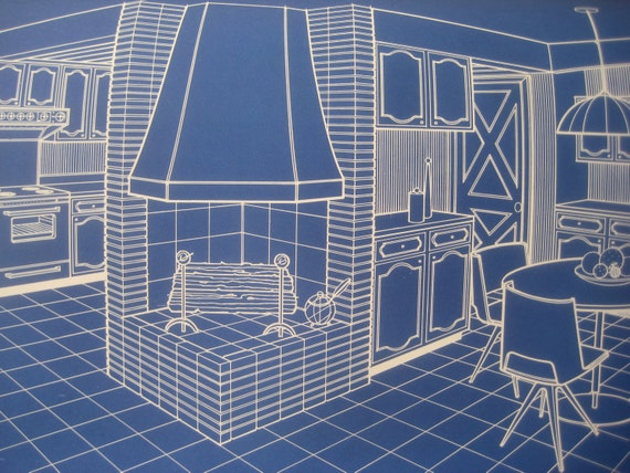 Vintage Book, NuTone Blueprints, Cool 1966 Kitchen and Bath Designs, Great for Framing