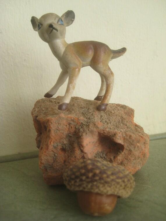 Vintage Plastic Deer, Tiny Brown Deer Figurine, Plastic Woodland Fawn, Made in Hong Kong