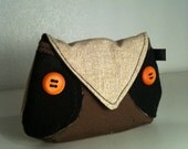 Woodland Brown Owl change purse pouch coin bag key chain wallet
