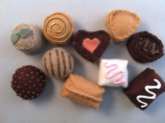 Felt Chocolate Assortment of Truffles Waldorf Inspired Play Food Wool Hand Sewn