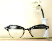 Bausch and lomb vintage eye glasses Black with white trim