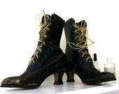 Vintage pair of Witches Boots circa 1910 complete with keys and rope laces