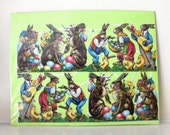 Vintage German Diecut  Easter decorations, bunnies, eggs, baskets and more one sheet
