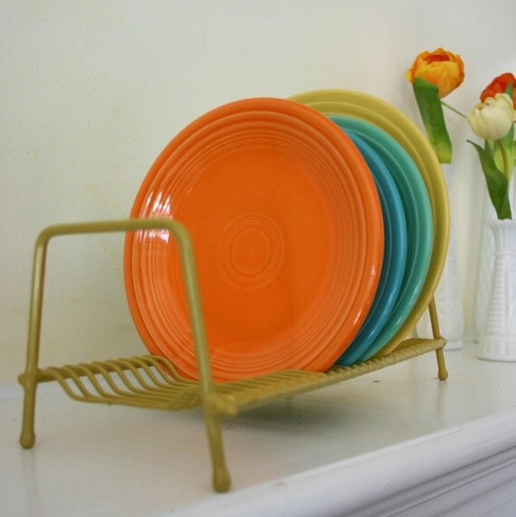 wonderful vintage pale metal rack coated for your dishes pleasure