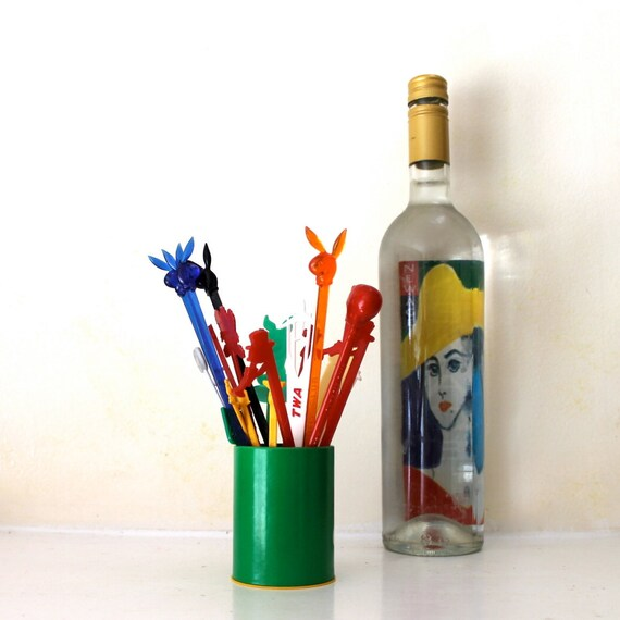 Vintage instant collection of Stir Sticks colorful and fun for your retro bar