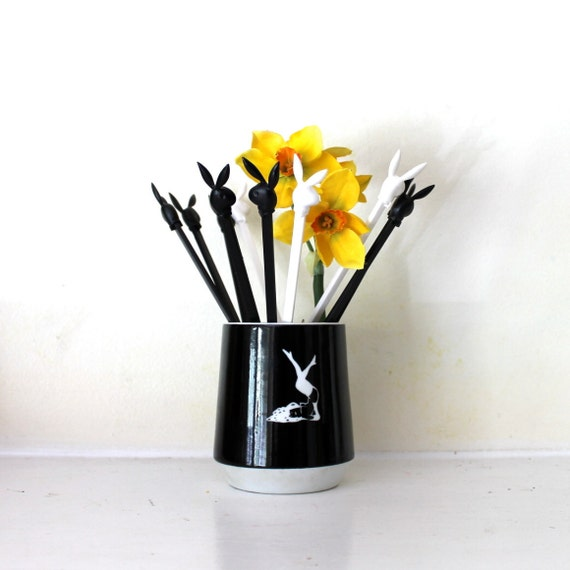 Playboy Mug and stir sticks instant collection Ceramic Black with plastic sticks