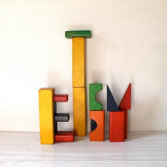 Vintage Wooden Building blocks - set Mailbag of blocks by Sears Roebuck and Co.