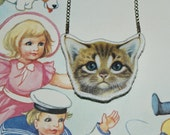 Hand Stitched Kitten Necklace