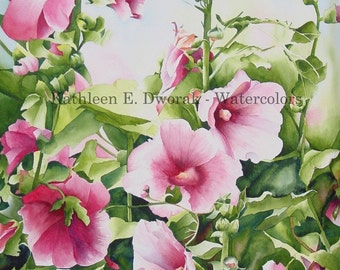Hollyhocks 2- signed limited edition watercolor print