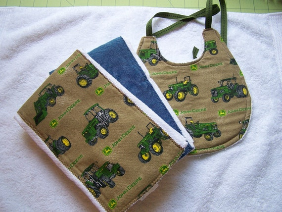 Baby Burp Cloth and Bib set.John Deere tractor.Great for your little ones, Boutique baby 3 piece baby shower gift.