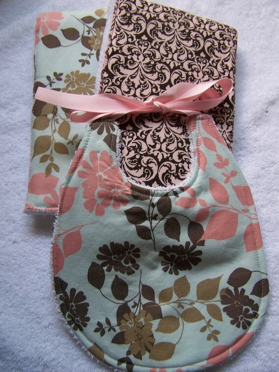 Baby Bib and Burp cloth set. Hinoki  blossom, Pink and brown damask. Great for your little one or as a baby shower gift. Super absorbent.