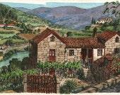 A hillside farm - Original art, small 7x5 landscape watercolor painting