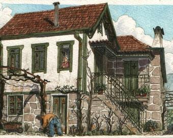 Green windows - Original art, small 7x5 landscape watercolor painting