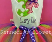 Custom monogrammed barbie applique birthday set with matching tutu hot pink, purple, lime green