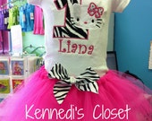 Custom Girls Toddler Birthday TuTu and matching Kitty embroidery applique onesie shirt or tank top