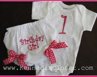 Custom monogrammed birthday onesie and bloomers diaper cover set Baby Toddler