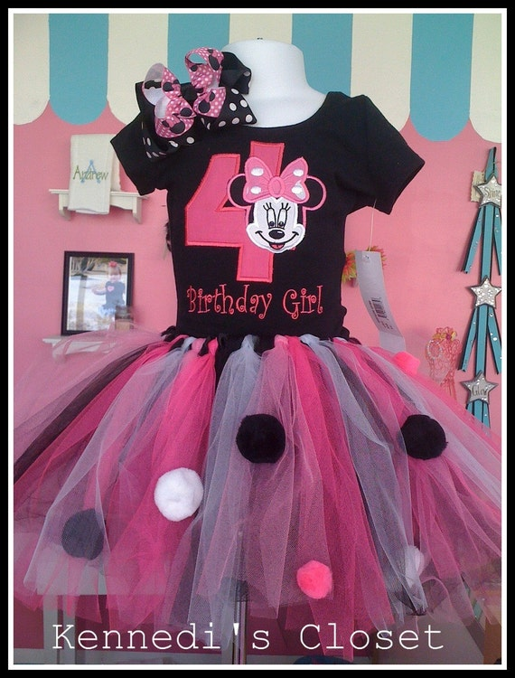 Custom Embroidered Applique Minnie Mouse Birthday Tank Top Shirt Onesie with matching Tutu