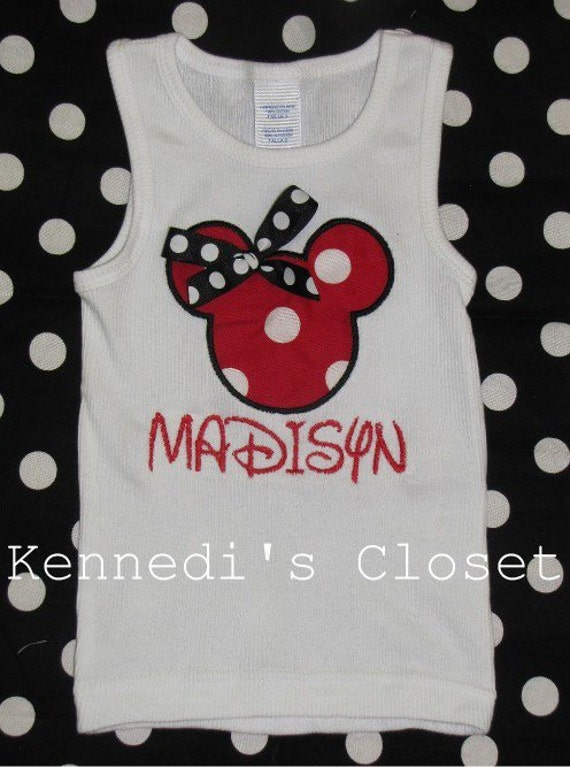 Custom Applique and Monogrammed Minnie Mouse Tank Top Black White Hot Pink Red or Zebra