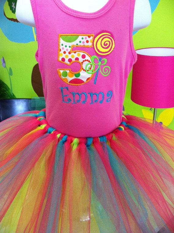 Custom Candyland Applique Tank Top Shirt with monogramming and Matching TuTu Bright Bold Colors