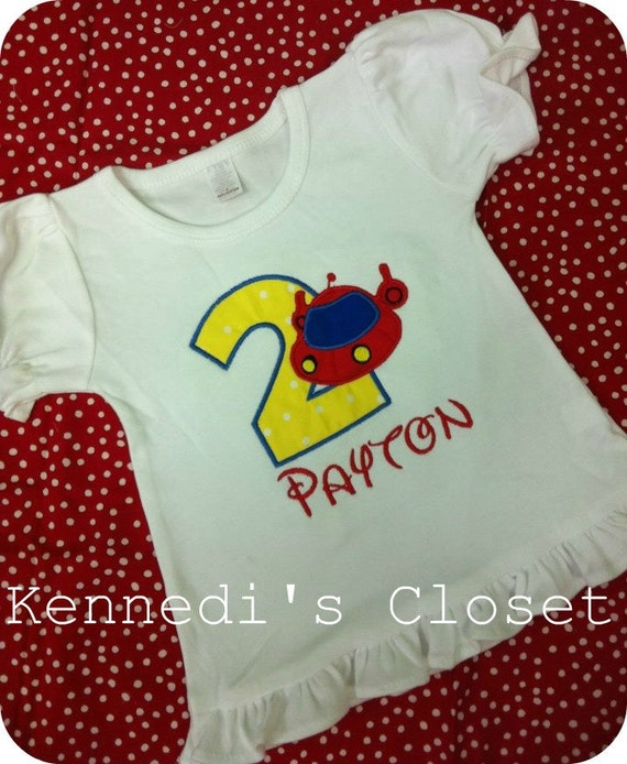 Custom monogrammed Little Einsteins embroidery applique birthday ruffle shirt