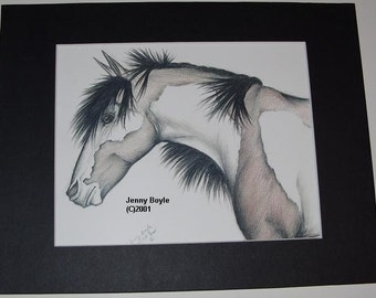 Horse drawing art print matted