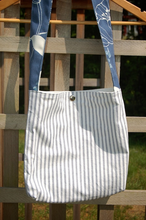 SALE Blue and White Striped Purse with Blue Floral Strap
