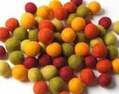 1CM Felt Balls/60-Piece - Autumn Mix