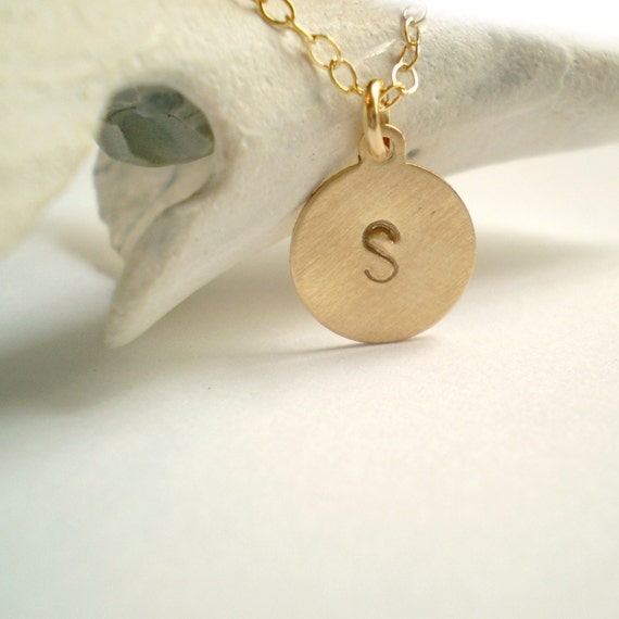 Tiny Initial Necklace - Brushed Matte Finish - 14k Gold Filled or Sterling Silver
