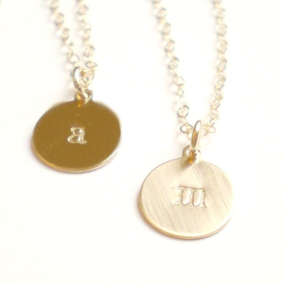 Tiny Personalized Gold Filled Initial Necklace - Uppercase or Lowercase Letters Available
